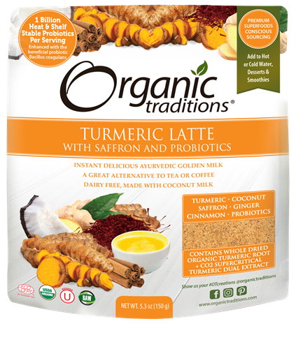 Picture of Organic Traditions Turmeric Latte with Saffron and Probiotics, 150g