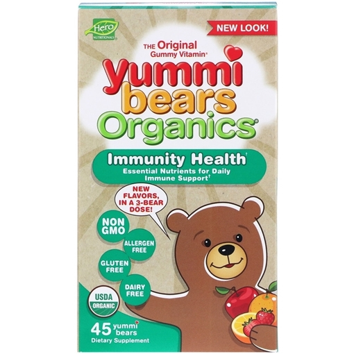 Picture of Hero Nutritionals Yummi Bears Immunity Health Organic Gummies, 45 ct