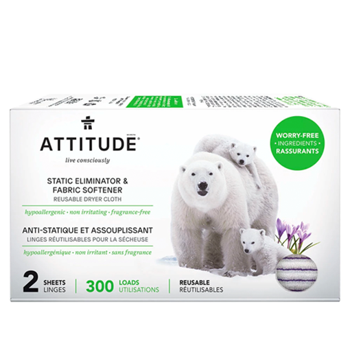 Picture of Attitude Fabric Softener Sheets - Anti-Static & Reusable - 300 Loads