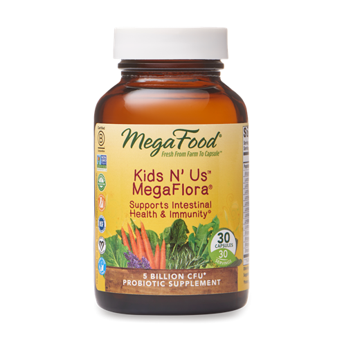 Picture of MegaFood Kid's N' Us MegaFlora (5 billion active probiotics), 30 caps