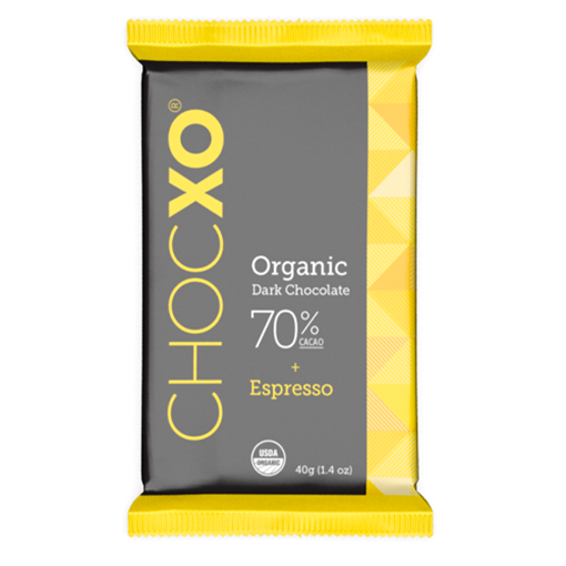 Picture of ChocXO Organic 70% Dark Chocolate Espresso Bar, 12x40g