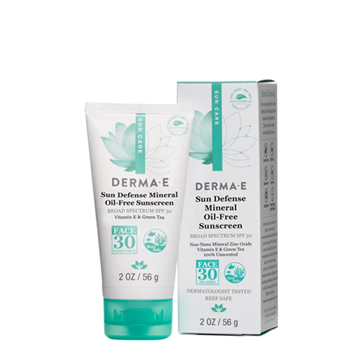 Picture of DERMA E Sun Defense Mineral Oil-Free Face Sunscreen SPF30, 56g