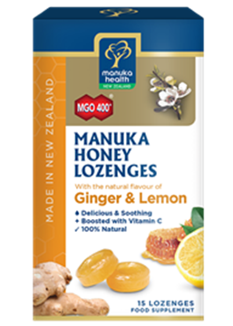 Picture of  Manuka Honey Lemon & Ginger Lozenges MGO 400Silver MGO 250 65g