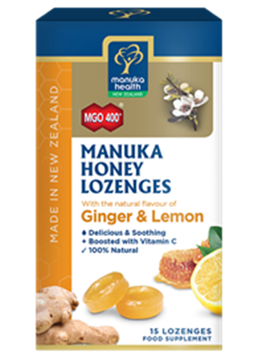 Picture of Manuka Health Manuka Honey Lemon & Ginger Lozenges MGO 400Silver MGO 250 65g