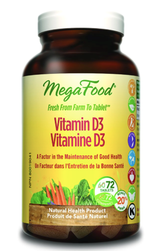 Picture of MegaFood Vitamin D-3 1000 IU, 72 tabs