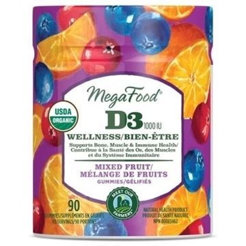 Picture of  Vitamin D3 Wellness (1000 IU) Mixed Fruit Gummies, 90ct