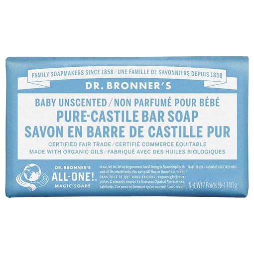 Picture of Dr. Bronner Baby Unscented Bar Soap, 140g