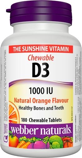 Picture of Webber Naturals Vitamin D3 1000IU Chewable, 180 caps