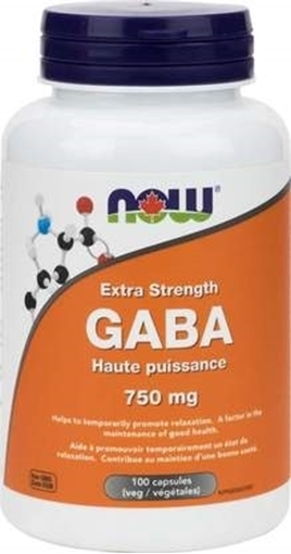 Picture of NOW Foods GABA Extra Strength, 750mg/100vcap