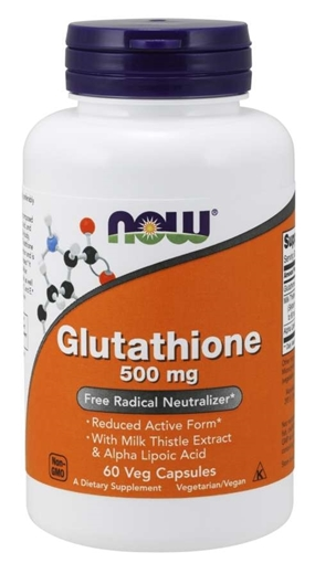 Picture of NOW Foods Glutathione with Silymarin & ALA, 500mg/60 caps