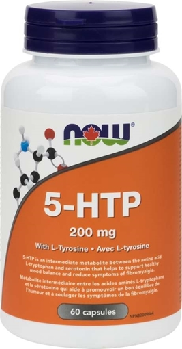 Picture of NOW Foods 5-HTP 200 mg with Tyrosine, 60 caps