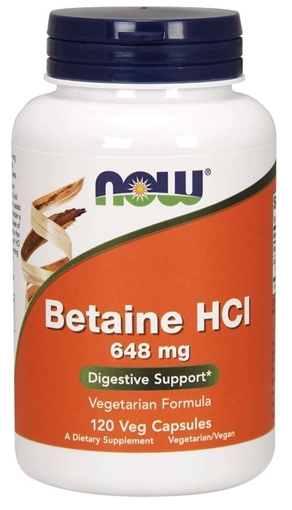 Picture of NOW Foods Betaine HCl 648mg with protease, 120 caps